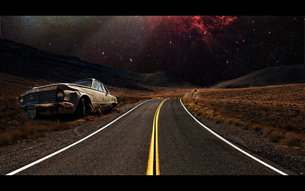 Composite of a Plymouth and a road to Death Valley in California, USA