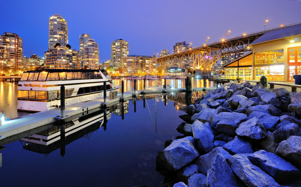 Vancouver Skyline and Marina at the blue hour, Bristish Columbia, Canada