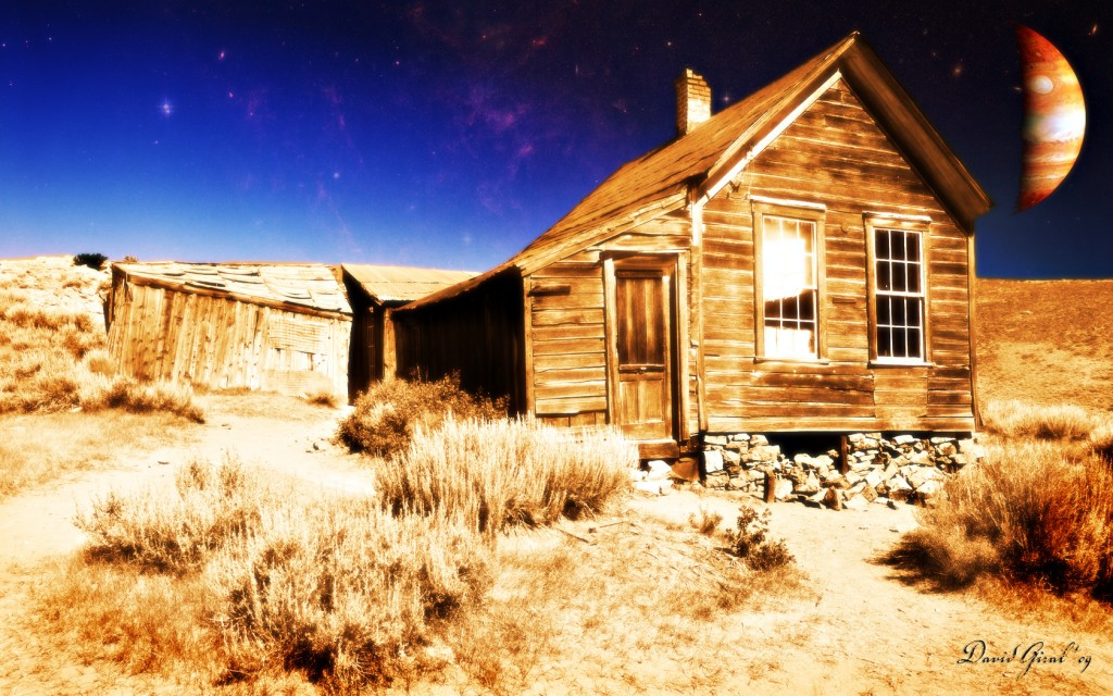 Image composite from a house of the abandonned village of Bodie in California