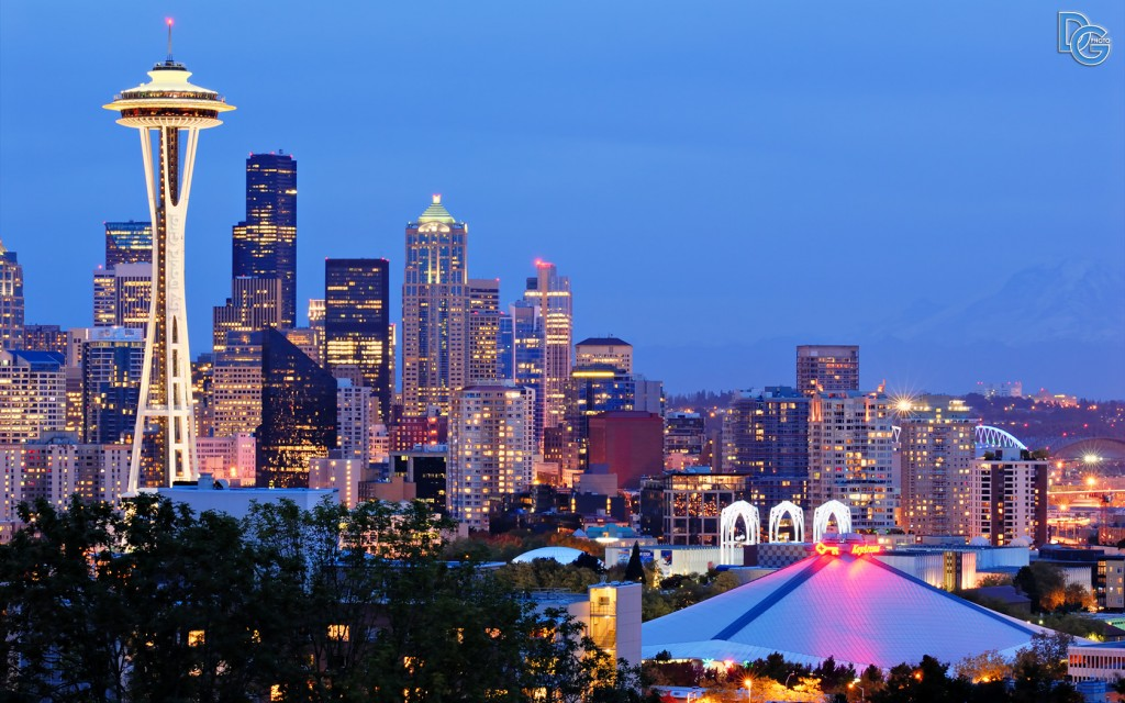 Heure bleue sur Seattle, Washington, USA
