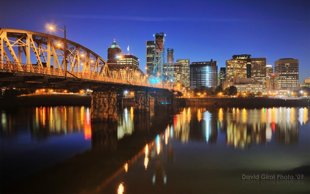 Heure Bleue sur Portland, Oregon, USA