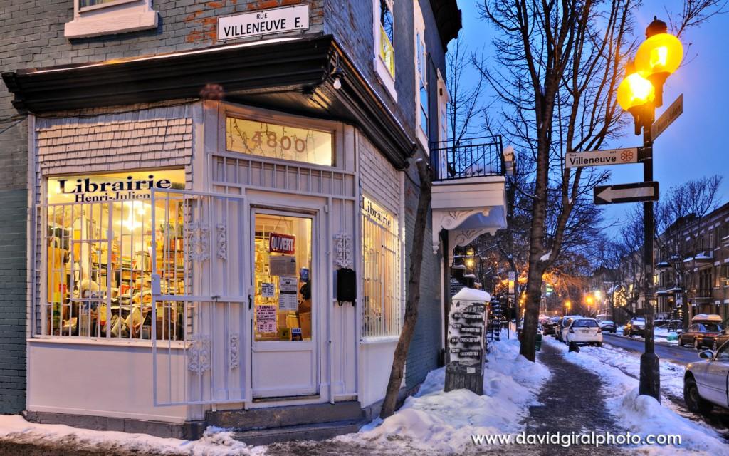 Veillée de Noel à la librairie Henri-Julien, Montréal, Québec, Canada