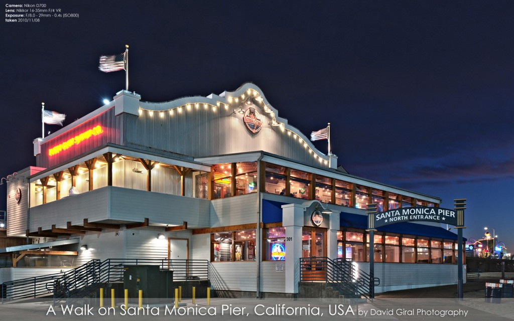 Bubba Gimp Shrimp Co Restaurant on Santa Monica Pier at the blue hour, California by David Giral