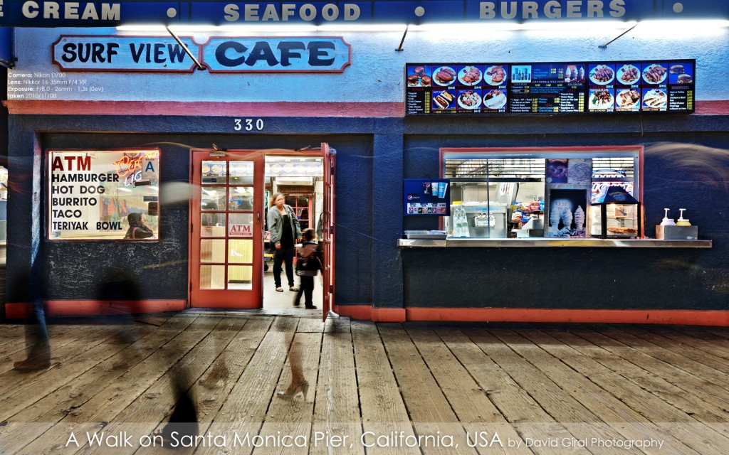 Surf View Cafe on Santa Monica Pier at night, California by David Giral