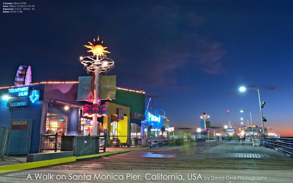 Santa Monica Pier Promenade at the blue hour, California by David Giral