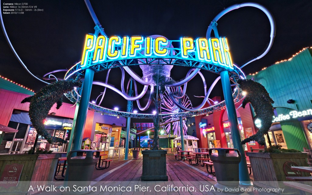 Pacific Park Entrance on Santa Monica Pier at the blue hour, California by David Giral