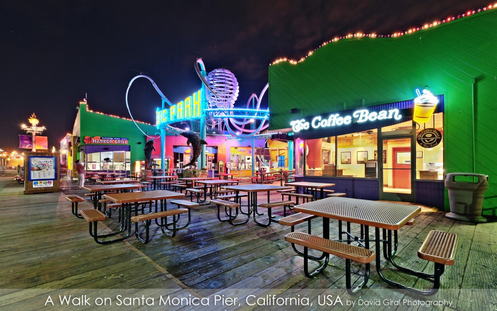 Coffee Bean entrance at Pacific Park Entrance on Santa Monica Pier at the blue hour, California by David Giral