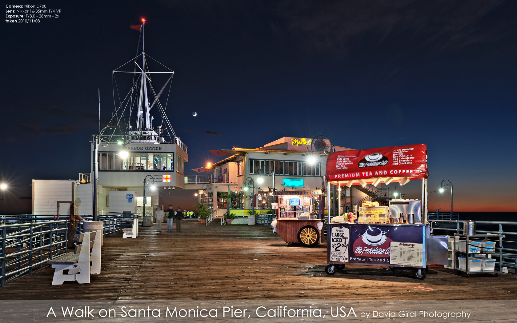 Harbour Office, Mariasol Restauran and stores on Santa Monica Pier at the blue hour, California by David Giral