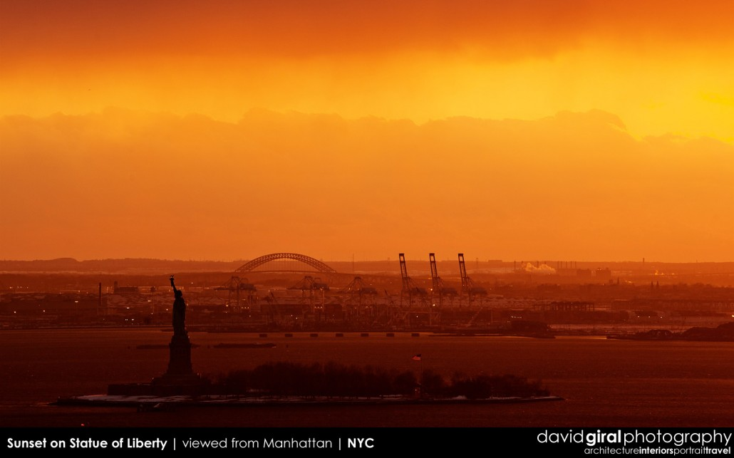 Weekly Facebook Cover Photo: A Stunning Sunset over Statue of Liberty from Manhattan, New York City