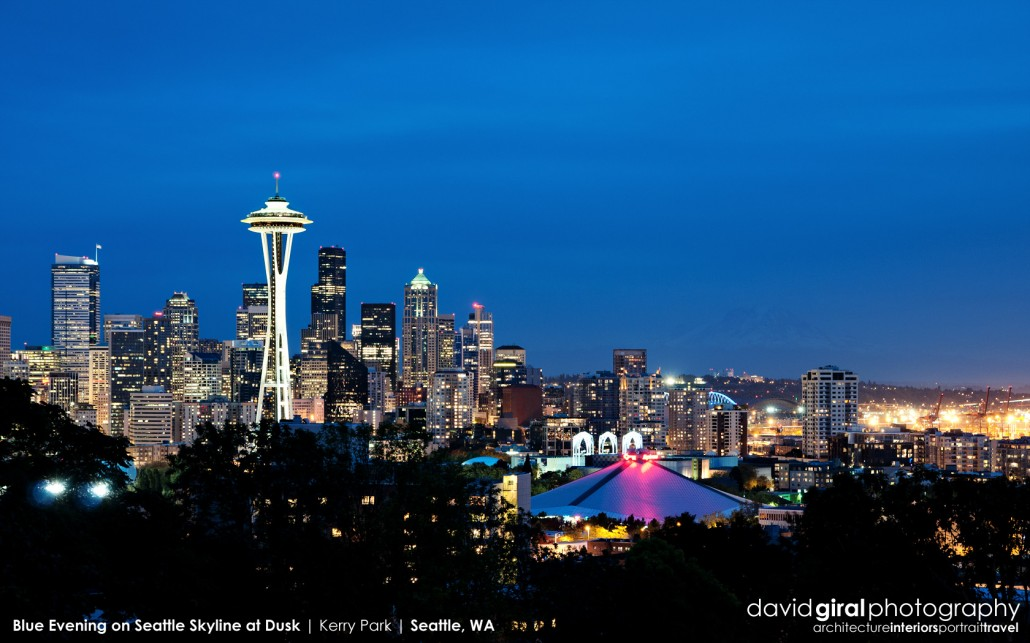 Weekly Facebook Cover Photo: Dusk on Seattle Skyline viewed from Kerry Park, Seattle, WA