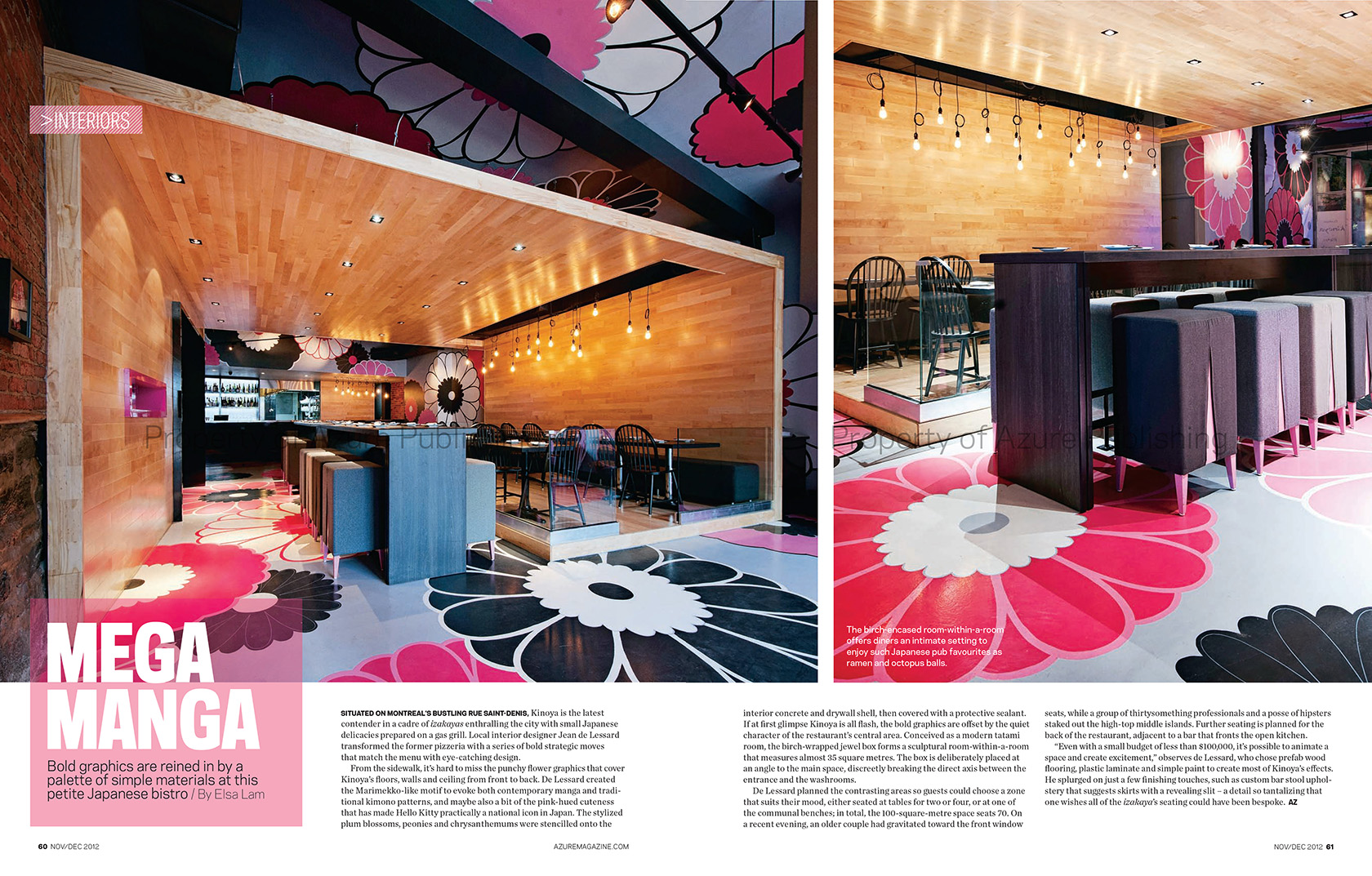 Azure Magazine Nov/Dec 2012 - Restaurant Kinoya By Jean De Lessard