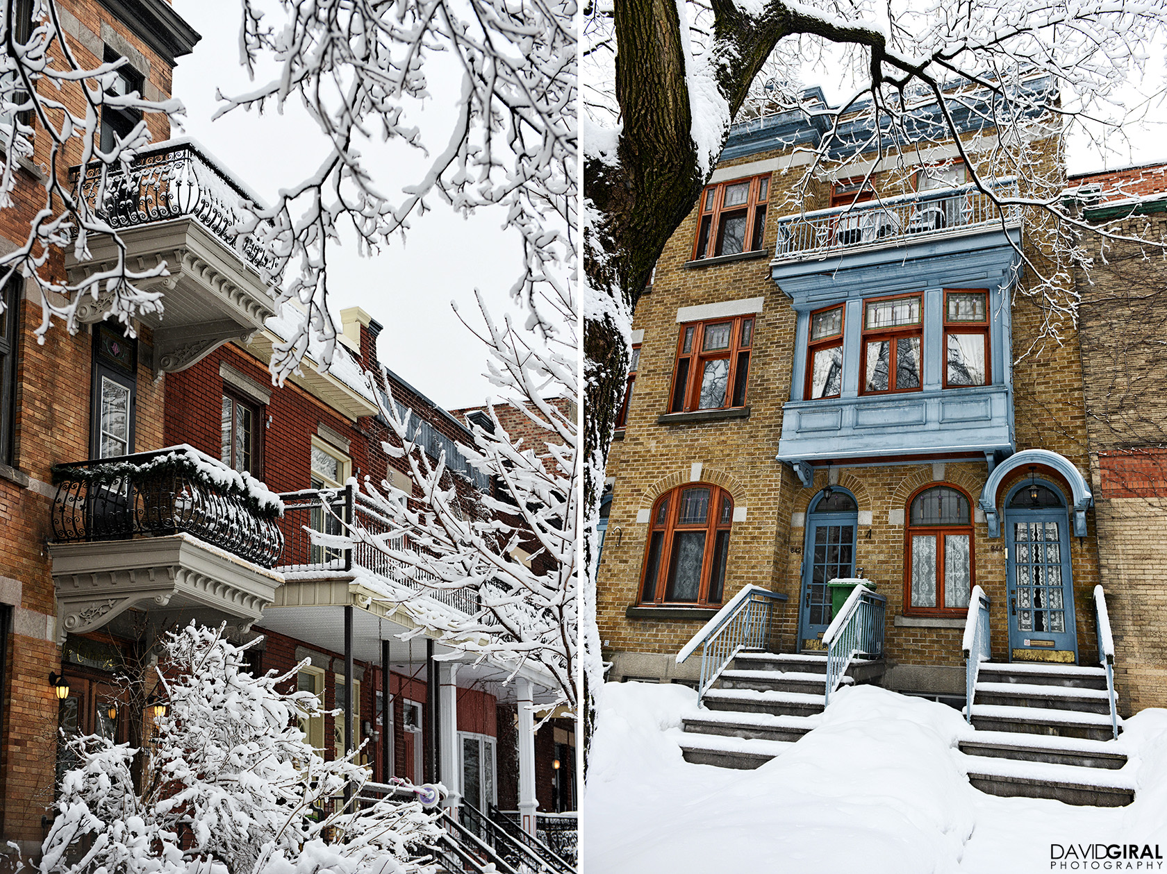 Winter scene of Outremont's houses on Bloomfield Avenue in Montreal