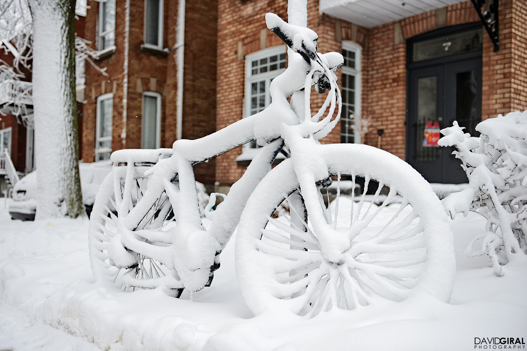 A snow covered bike in Outremont District of Montreal