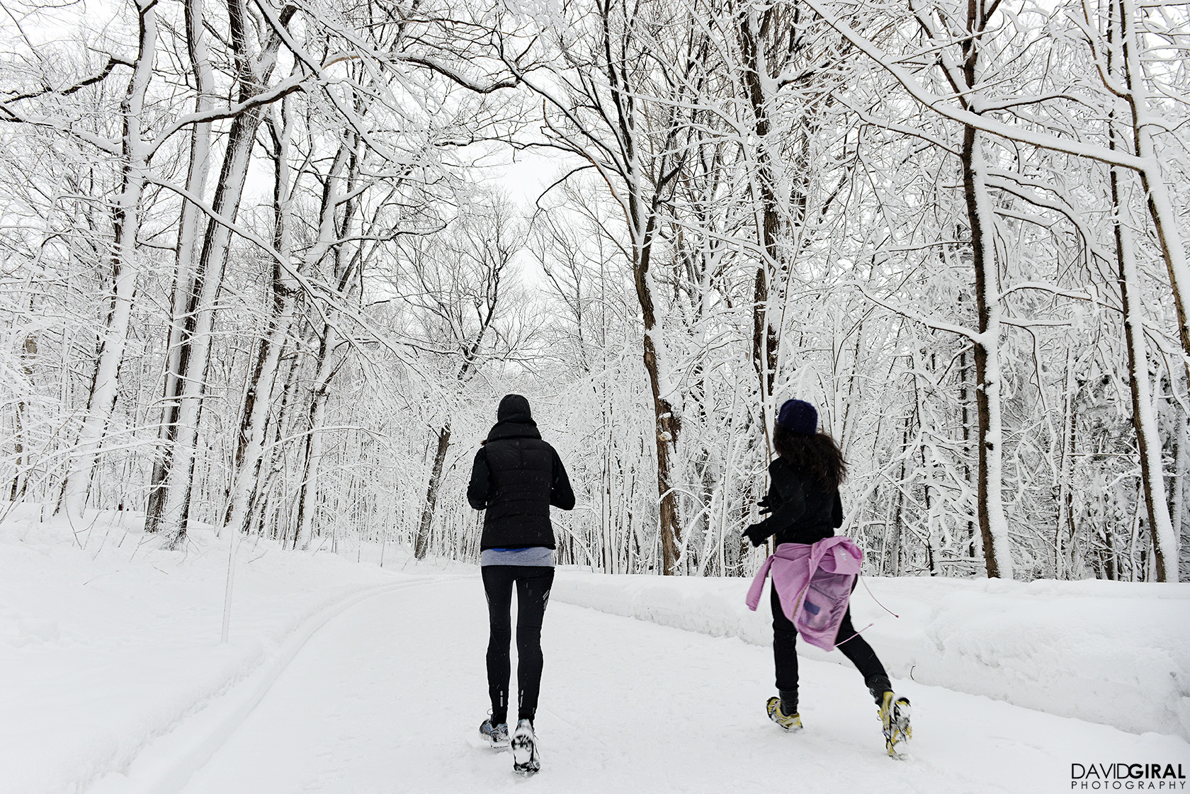 Women running in the snow on a trail at Mont Royal Park in Montreal