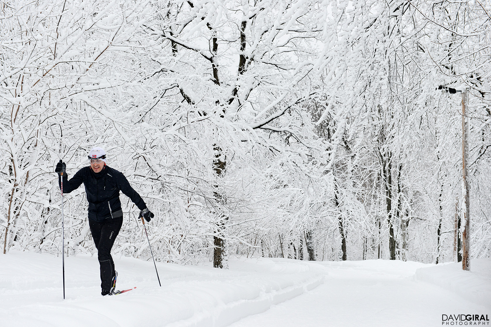 Man cross-country skiing in Mont Royal Park in Montreal
