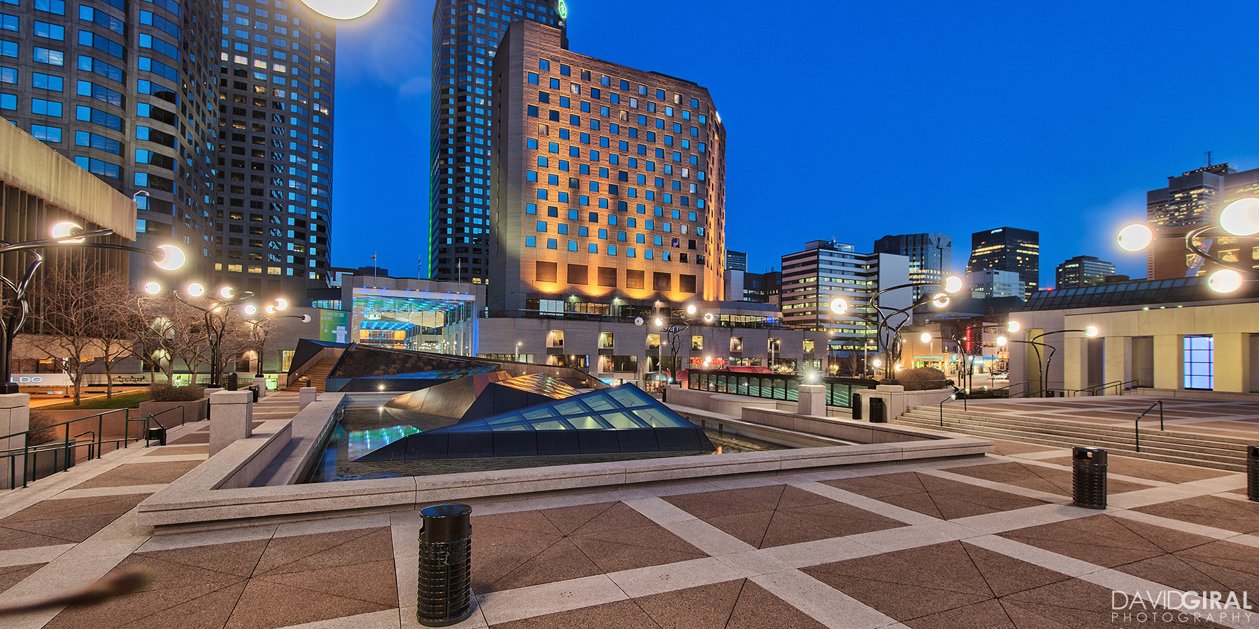 Esplanade of Place Des Arts, Place Desjardins & Hyatt Hotel, Quartier des Spectacles, Downtown Montreal