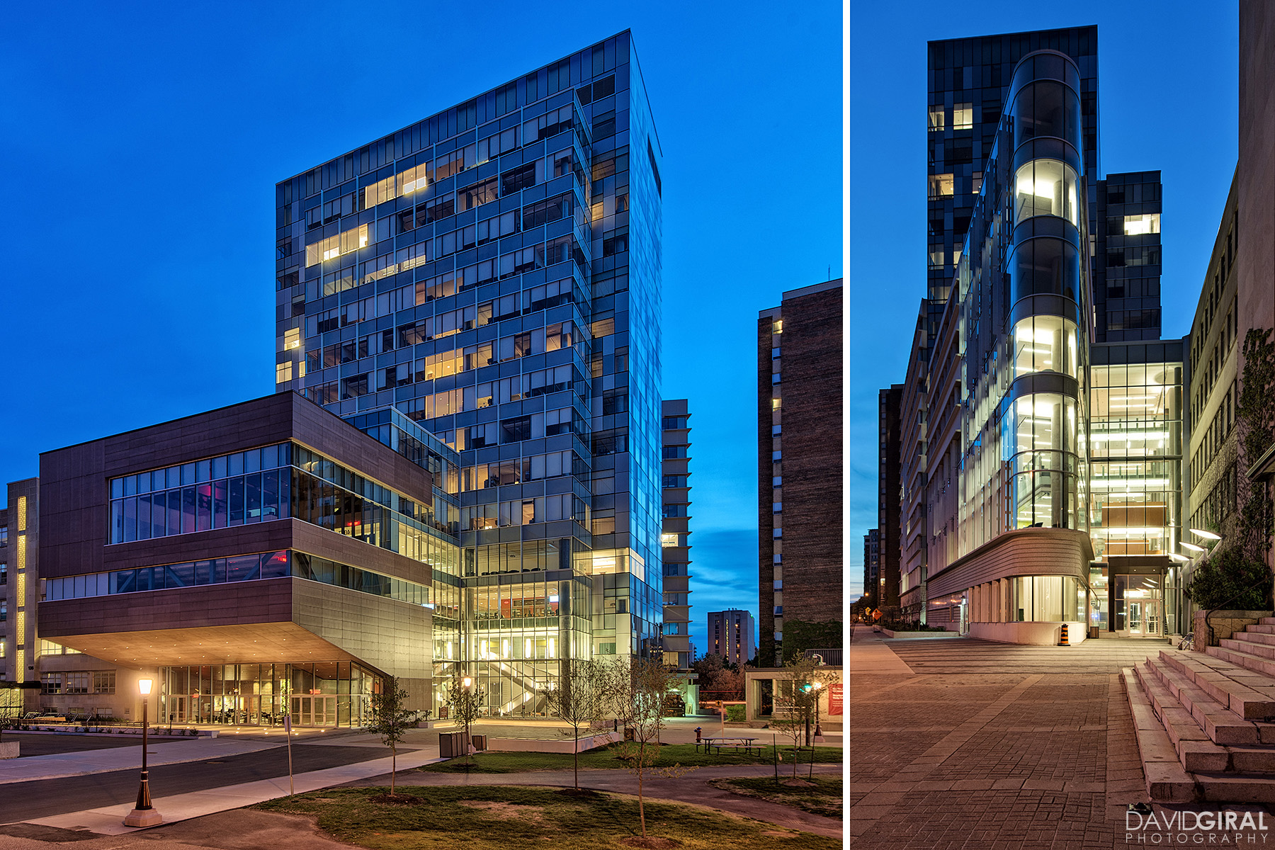East view and South view of Faculty of Social Sciences Building at the University of Ottawa at dusk by Diamond Shmitt and KWC Architects