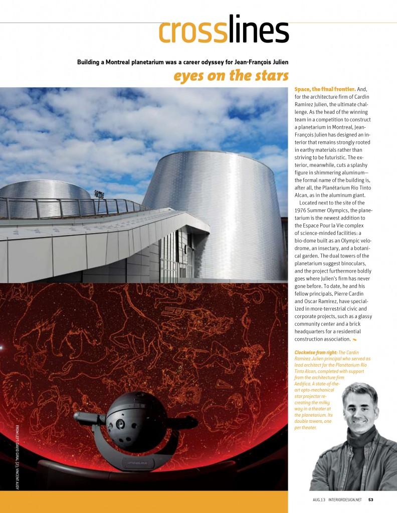 Interior Design - Volume 10 - August 2013 - Rio Tinto Alcan Planetarium - Architectural Photography