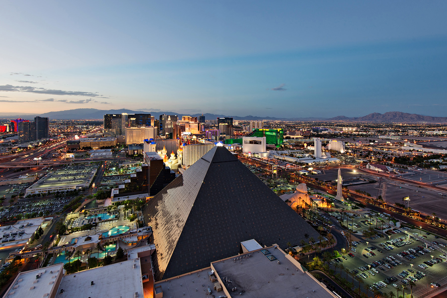 Las Vegas Skyline and the Strip at dusk viewed from THEHotel MiX Lounge terrace