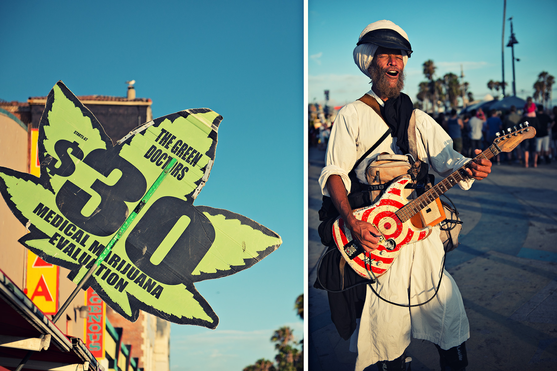 left: Marijuana Store Sign | right: Singer on rollerblades performing