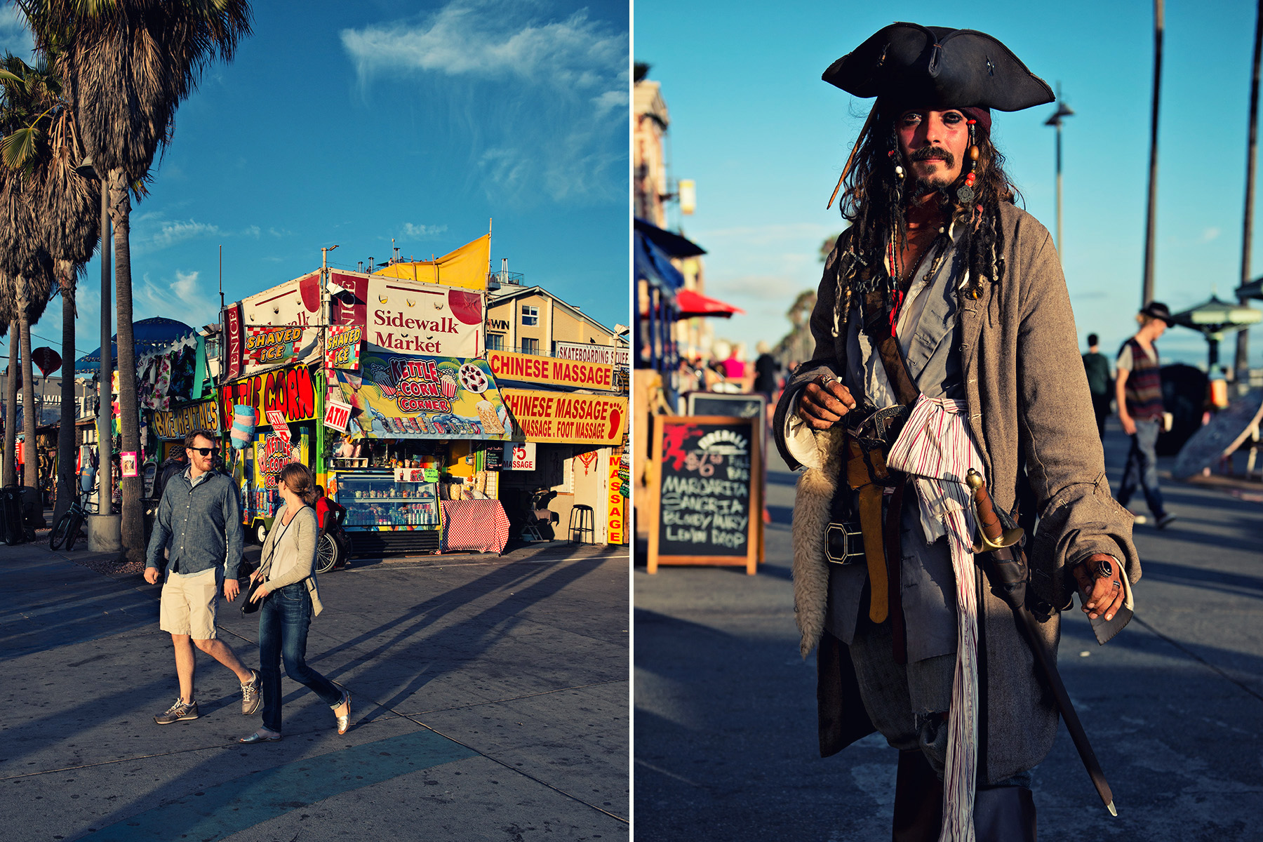 left: couple in walking by souvenir shops | right: Captain Jack Sparrow impersonator