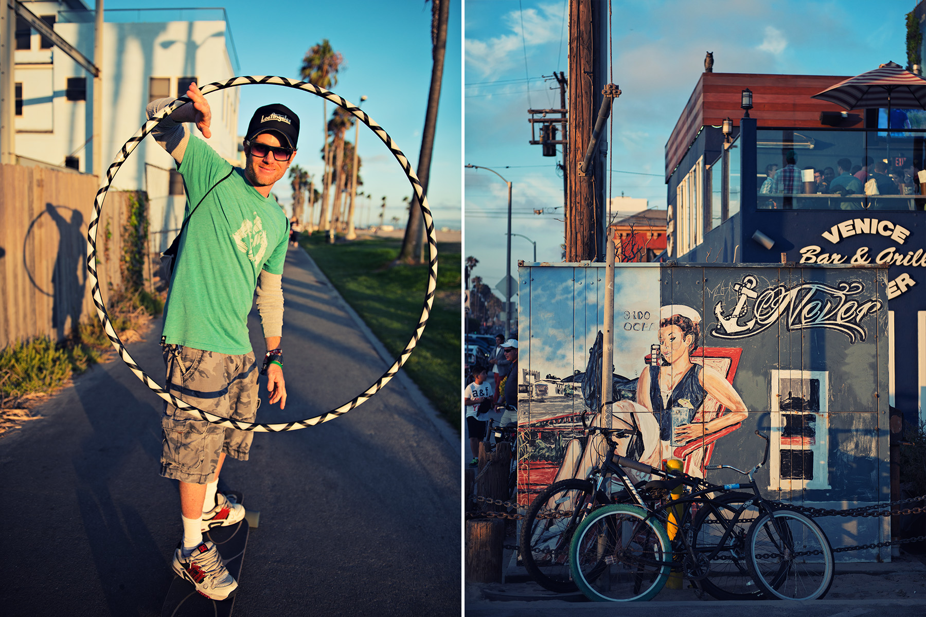 left: man playing with a hulla hoop while skateboarding | Right: Mural near Venice Fishing Pier
