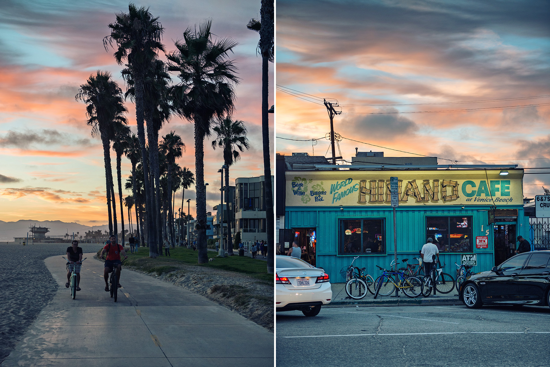 left: Cyclists on the biking path at dusk | right: World Famous Hinano Cafe At Dusk
